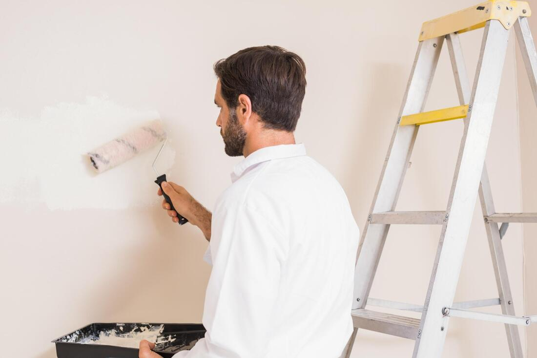 professional painter doing wall painting